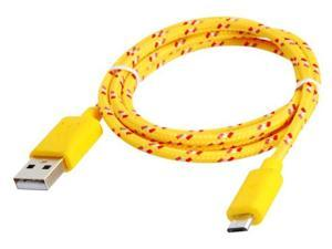 1 m Micro USB Knit Charging Data Cable for Samsung, HTC, Nokia Cell Phones (Yellow)