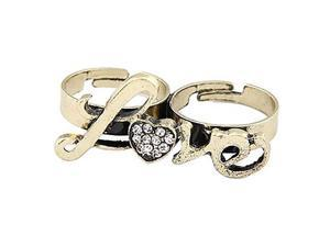 European And American Vintage Diamond Love Love Letters Double Ring