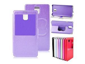PU Leather Case Stand Cover with S View Window for Samsung Galaxy Note 3 N9000 , Purple