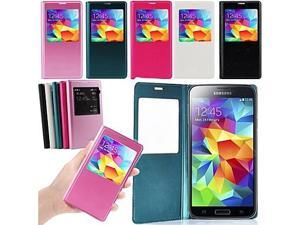 Luxury S-VIEW Window Flip Leather Case Cover for SAMSUNG GALAXY NOTE 3 III N9000(Assorted Colors) , Blue