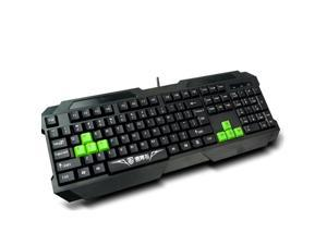 USB Wired Durable Media Black Green Gaming Keyboard