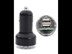 Black Micro 2 Port USB 2.1A Car Charger Splitter Adapter for iPod iPhone iPad Mobile SatNav