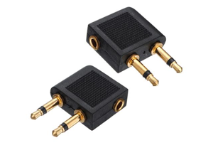 2 pcs 3.5mm Female to 2 x 3.5mm Male Audio Adapter Jack Airplane Airline Headphone Earphone - OEM
