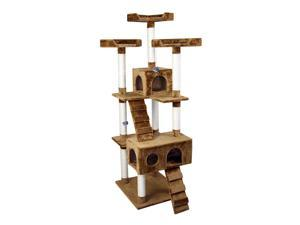 "PawHut 70"" Deluxe Cat Scratching Tree Kitten Condo Play House Pet Scratcher Multi-level Tower Kitty Furniture with Two Condos Brown"