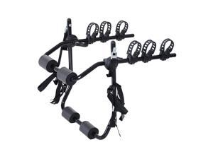 Outsunny Car Back 3-Bike Hitch Mount Carry Rack Bicycle Racks for Car Truck SUV with Fix Strap, Black