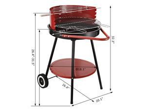 Outsunny Portable Charcoal Grill Outdoor Folding Barbecue Trolley BBQ Heat Smoker Grilling with Free Standing