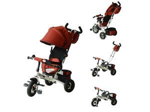 Qaba 4-in-1 Baby Tricycle & Stroller Kids Trike with Pushbar and Canopy Toddler Ride On, Red