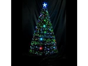 HOMCOM 6.3' Christmas Tree Pre-Decorated LED Light Optical Fiber Scattered Decor Holiday w/Stand Green