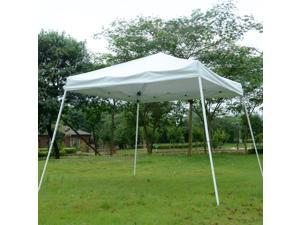Outsunny 10x10ft Easy Pop-up Party Tent Outdoor Canopy Sunshade Shelter with Slant Leg and Carrying Bag (White)