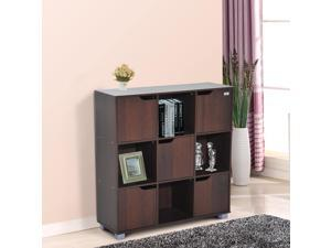 HOMCOM 9 Cube Bookcase Storage Shelf Organizer with 5 Doors and 4 Open Cube (Coffee)