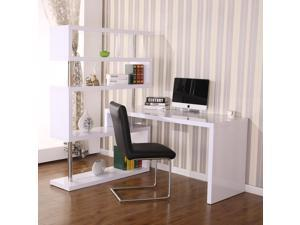 HOMCOM Rotating Corner Desk Workstation with 4 Tire Hollow Shelves Storage Display Home Office Table White
