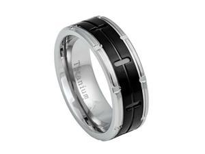 Grooved Black IP Center Titanium Ring With Titanium Color Notched Edges- 8mm