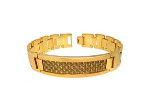 Yellow Gold Plated High Polish Tungsten Carbide Id Bracelet With Gold Tone Carbon Fiber Inlay