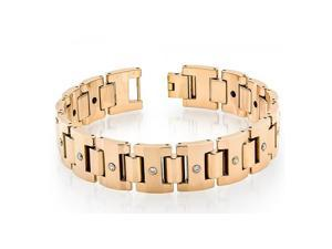 Tungsten Carbide High Polished Rose Gold Plated Heavy Designer Link Bracelet - 16mm X 8 Inches