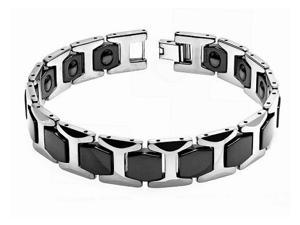 High Polished Two Tone Tungsten Carbide Magnetic Ion Designer Link Men's Bracelet