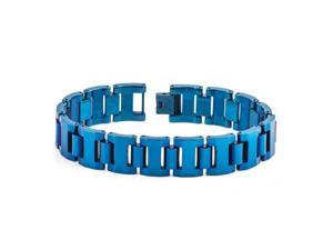 Blue IP Tungsten Carbide High Polished Heavy Designer Link Bracelet
