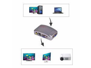 PC VGA to AV Composite Converter RCA TV Monitor S-video Signal Adapter Converter Switch Box PC to TV NEW