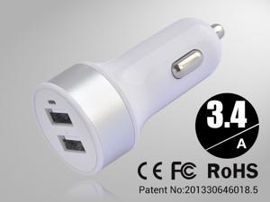 Silver Rapid Universal USB Car Charger for Smartphones & Apple Devices /5V DC @ 3.4A