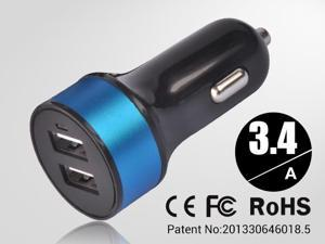 Blue Universal dual USB Car Charger auto adapter for Smartphones & Apple devices /sumsung 5V DC @ 3.4A