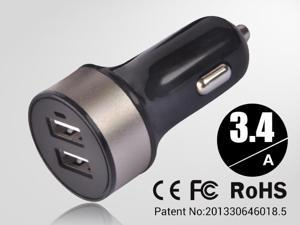 Golden Universal dual USB Car Charger auto adapter for Smartphones & Apple devices /sumsung 5V DC @ 3.4A