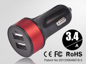 Red Universal dual USB Car Charger auto adapter for Smartphones & Apple devices /sumsung 5V DC @ 3.4A
