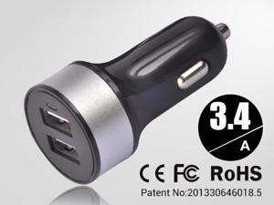 Silver Universal dual USB Car Charger auto adapter for Smartphones & Apple devices /sumsung 5V DC @ 3.4A
