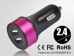 Rose red Universal dual USB Car Charger auto adapter for Smartphones & Apple devices /sumsung 5V DC @ 3.4A