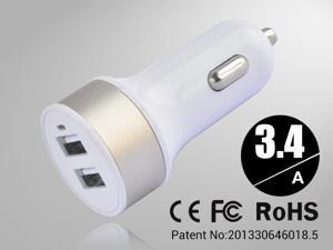 Golden Rapid Universal USB Car Charger for Smartphones & Apple Devices /5V DC @ 3.4A