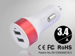 Red Rapid Universal USB Car Charger for Smartphones & Apple Devices /5V DC @ 3.4A