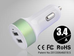 Green Rapid Universal USB Car Charger for Smartphones & Apple Devices /5V DC @ 3.4A