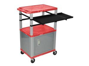 "Red 42"" Presentation Cart Nickel Legs With Nickel Cabinet, Keyboard Pullout Shelf And Side Pullout Shelf"