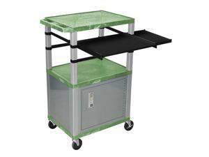 "Green 42"" Presentation Cart Nickel Legs With Nickel Cabinet, Keyboard Pullout Shelf And Side Pullout Shelf"