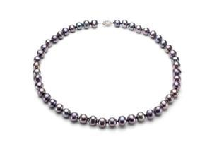 """Sterling Silver 9-10mm Black Round Freshwater Pearl Necklace 18"""" Length. - OEM"""