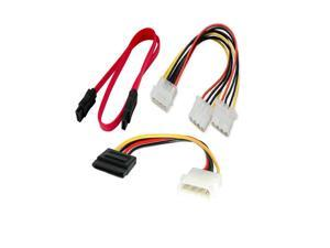 4 Pin Male to Double 4 Pin Female Molex Splitter Cable+7 Pin Data to Sata F/f External HDD Adapter Cable+4 Pin Male to Sata ...