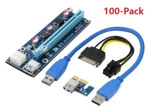 100-Pack Mining Dedicated Riser USB 3.0 PCI-e Express 1X to 16X Riser Card Extender Adapter Monero BTC ETH with USB 3.0 Data Cable 60CM + 15Pin SATA to 6Pin Power Cable w/ Adhesive Pad VER006C