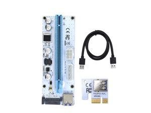 Corn Electronics Updated Ver008S Mining Dedicated Riser Card PCI-E Express Cable 1x to 16x Ethereum ETH Mining 60cm USB 3.0 Cable 4 Solid Capacitors LED Indicator and Fuse Included