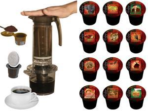 Cafejo My French Press K-Cup Brewer (With K-Cup, Ground Coffee & Pod Adaptors) PLUS a 12 Count Variety Box of Cafejo K-Cups