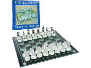 Trademark Poker Elegant Glass Chess and Checker Board Set