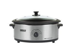 NESCO 4816-25PR 6-Quart Porcelain Roaster Oven (Stainless Steel)