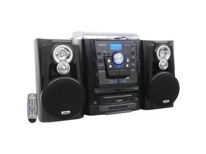 JENSEN JMC-1250 Bluetooth(R) 3-Speed Stereo Turntable Music System with 3-CD Changer & Dual Cassette Deck