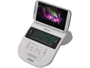 JENSEN JCR-295-W Bluetooth(R) Clock Radio with Cellphone Holder (White)