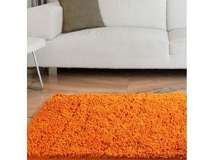 Lavish Home High Pile Shag Rug Carpet - Orange - 21x36