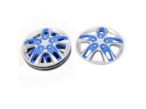 "4PCS 14"" Dia 10 Spoke Silver Tone Blue Plastic Wheel Hub Cap Cover for Car"