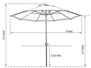 Abba Patio 9 Ft Market Aluminum Umbrella with Push Button Tilt and Crank, 8 Steel Ribs and Wind Vent, 100% Polyester 250gsm, Dark Green
