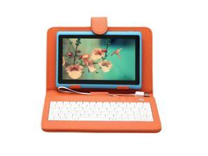 "New iRulu 7"" Android 4.2 Jelly Bean Tablet PC with Keyboard Case Dual Core CPU 8GB Flash (Sky Blue PC & Orange Case)"