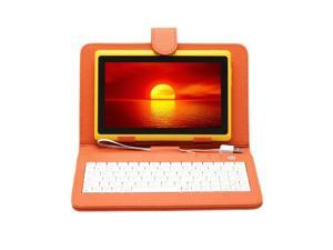 "IRULU 7"" Android 4.2 Jelly Bean Tablet PC with Keyboard Case Dual Core CPU 16GB Flash (Yellow PC & Orange Case)"
