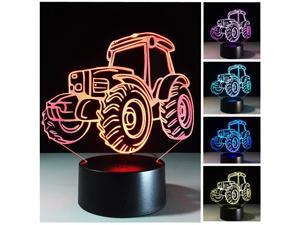 3D Tractor Night Light 3D LED USB 7 Color Change LED Table Lamp Xmas Toy Gift