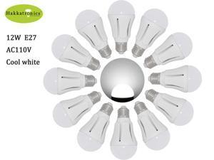 12X 12w Globe LED Light Bulbs Cool White / Daylight 6000K A19/A60 E27 AC85-265V Bathroom Use LED Bulb 100w Equal with 50,000 ...