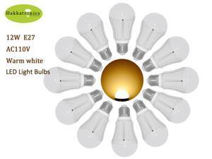 12 Pieces 12W A19/A60 LED Bulb Lights E26/E27 AC120V  Warm White 3000k No Dimmable Globes Bathroom Use US Delivery