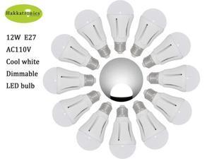 12 pieces 12W globe led bulb lamp Cool White A19/A60 E27 85-265V led bulb light with 50,000 hours